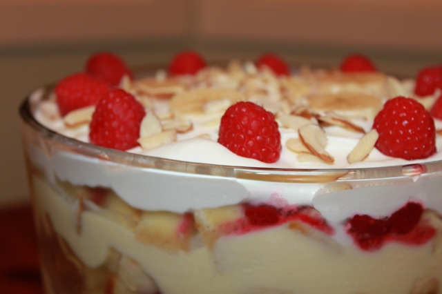 English Trifle with Raspberries, Bananas and Sherry - Vixen's Kitchen