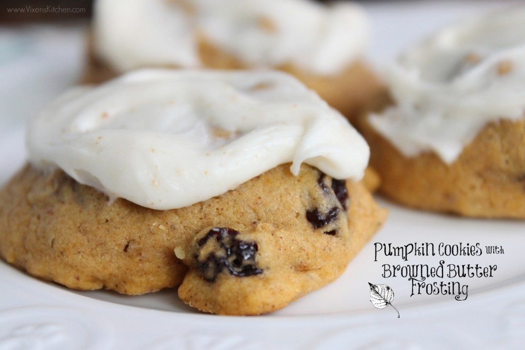 Pumpkin Cookies with Browned Butter Frosting - Vixen's Kitchen